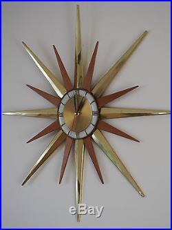 Vintage Ingraham Starburst Wall Clock Teak Spikes Retro