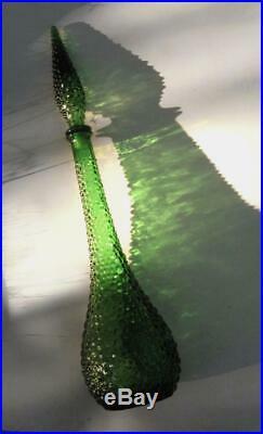 Vintage Italian Green Glass Genie Bottle & Stopper Retro Eames Era MID Century