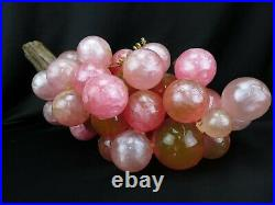 Vintage Large Mid Century Lucite Glass Shades of Pink Grape Cluster on Driftwood