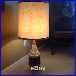 Vintage Large Mid Century Textured Lamp Teak Atomic Retro Original Shade