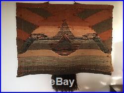 Vintage Large Wall Art Tapestry Woven Boho Mid Century Fringe Fiber Art Textile