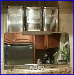 Vintage Lincoln Beautyware Kitchen Cannister Set BreadBox Flour Sugar MCM Chrome
