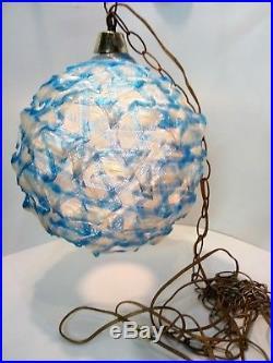 Vintage Lucite Mid Century Hanging Ribbon Lamp Light Blue/Clear Retro