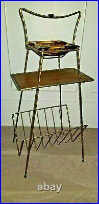 Vintage MCM 1950's Mid Century Modern Smoke Stand Ashtray Table & Magazine Rack