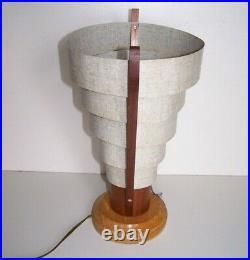 Vintage MCM Cone Space Graduated Metal Ring Retro Teak Table Lamp