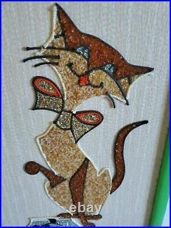 Vintage MCM Gravel Pebble Art Siamese Cat w Fish Bowl/ Bird Cage Wall Hanging