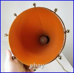 Vintage MCM Mid Century Retro Decorative Umbrella Holder Lamp Lighting Orange