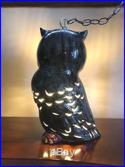 Vintage MCM Retro 16 OWL Swag HANGING LIGHT Fixture MID CENTURY Lamp POTTERY
