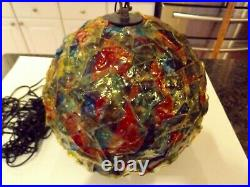 Vintage MCM Retro Lucite Ribbon VERY COLORFUL Hanging Swag Light Lamp