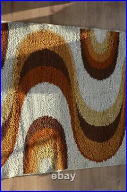 Vintage MCM Space Age Pop Art Psychedelic Panton Carpet Rya Rug Colani Eames Era