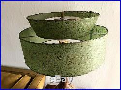 Vintage MID-CENTURY Modern FIBERGLASS Lamp SHADE 2 Tier ATOMIC Green MCM Retro