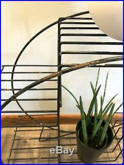 Vintage MID-CENTURY Modern WIRE PLANT STAND Atomic RETRO Display Shelf MCM Metal