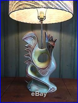 Vintage MID CENTURY Stylized ROOSTER Chicken TABLE LAMP Retro Modern MCM Rare