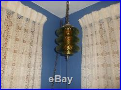Vintage MID Century Modern Green Glass Hanging Swag Lamp Light Retro 60's