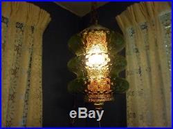 Vintage MID Century Modern Green Glass Hanging Swag Lamp Light Retro 60's