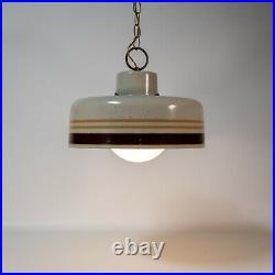 Vintage MID Century Modern Metal Speckled Pendant Globe Light Hanging Lamp Booth
