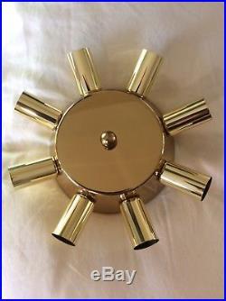 Vintage MID Century Modern Retro Brass Sputnik Flush Mount Light Fixture