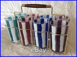 Vintage MID Century Modern Retro Glasses Tumblers Cocktail Caddy Carrier