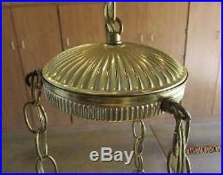 Vintage MID Century Retro 3 Tiered Cut Glass Look Globes Hanging Swag Light