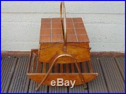 Vintage MID Century Retro French Wooden Floor Standing Sewing Craft Storage Box