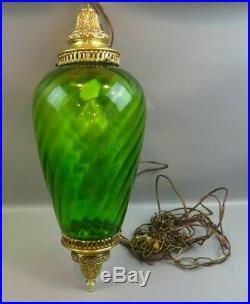 Vintage MID Century Retro Green Glass Hanging Swag Lamp Light