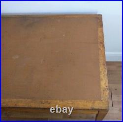 Vintage Mid Century 1950s MOD Solid Oak Desk with Faux Leather Top