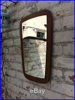 Vintage Mid Century Asymmetric Danish Style Teak Wall Mirror 60s 70s Retro