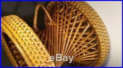 Vintage Mid Century Bamboo Rattan Portable Stool Seat Planter Stand retro deco