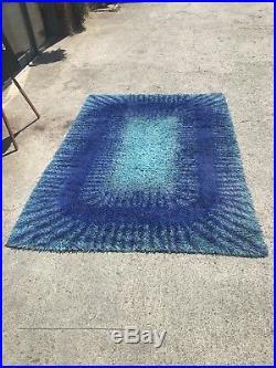 Vintage Mid Century Blue Sunburst Rya Floor Rug Retro 60s 70s MCM German