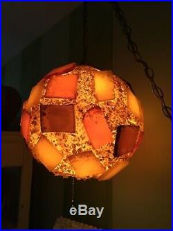 Vintage Mid Century CHUNKY LUCITE ROCK CANDY Hanging SWAG LAMP Light Spaghetti