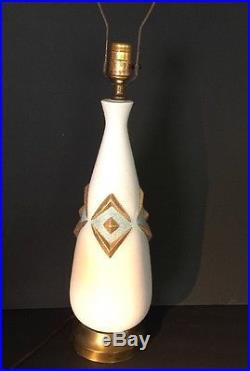 Vintage Mid Century Ceramic Gold Turquoise Pottery Lamp Funky Retro