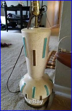 Vintage Mid Century Ceramic Gold Turquoise Pottery Lamp Retro Davis Lamp