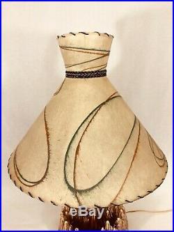 Vintage Mid Century Ceramic Volcano Lamp with Planter Fiberglass Shade Tiki Retro