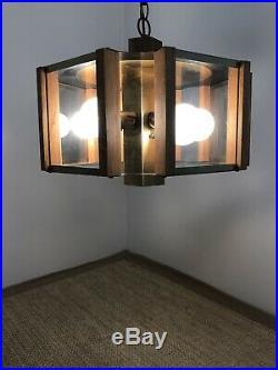 Vintage Mid Century Danish Modern Retro Fredrick Ramond Swag Lamp Chandelier