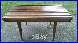 Vintage Mid Century Danish Modern Teak Wood Slat Coffee Accent Table retro deco