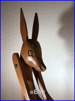 Vintage Mid-Century Danish Modern Wood Kangaroo Wine Bottle Holder