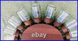 Vintage Mid-Century Digsmed 18-Jar Teak Spice Wheel 1960's Denmark-free shipping