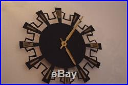 Vintage Mid Century EMES Wall Clock, Made in Germany, Rare, Starburst Retro Mint