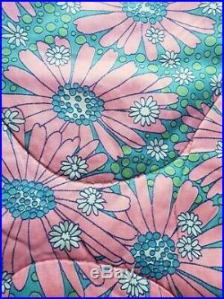 Vintage Mid Century Floral Bedspread Comforter MCM 60 70s Retro Mod Daisies Pink