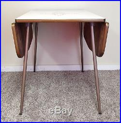 Vintage Mid Century Formica Drop Leaf Kitchen Dinning Table Space - Mid century modern formica table