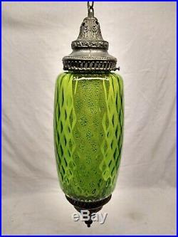 Vintage Mid Century Green Glass Swag Lamp Retro Antique Brass Diamond Pattern