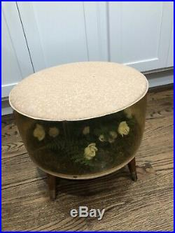 Vintage Mid Century Inflatable Footstool / Ottoman With Roses 1950s 1960s RETRO