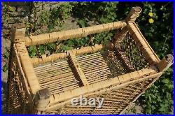 Vintage Mid Century Large Wicker Bamboo Shelving Unit Bookcase Boho Tiki Round