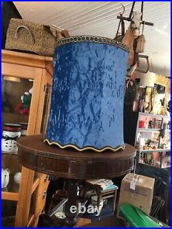 Vintage Mid Century MCM Blue Velvet Drum Lampshade withgold Trim
