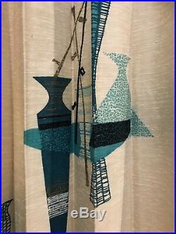 Vintage Mid Century MCM Retro Turquoise Ivory Barkcloth Drapes 3 Curtain Panels