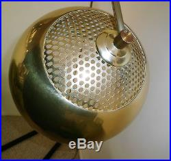 Vintage Mid Century Modern Retro Brass Tone Dome Orb Shade