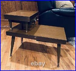 Vintage Mid Century Modern 2-Tier End Table Floating Shelf Drawer Atomic Retro