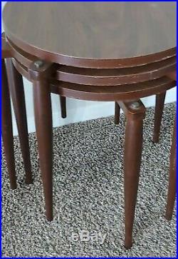 Vintage Mid Century Modern 3 Round Stacking Nesting Side Table Retro Atomic 1964