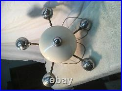 Vintage Mid Century Modern Atomic Brass Retro Ceiling Light 5 arm bullet style