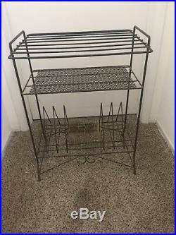 Vintage Mid-Century Modern Black METAL Retro Record and Record Cart Stand